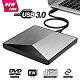 External DVD Drive Portable Slim USB 2.0 DVD CD R/RM Burner Writer Copier Player Optical DVD Drive Plug and Play for Laptops, Desktops, Notebooks, Mac Book Black (Silver20)