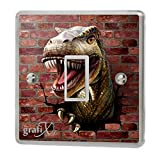Dinosaur & Brick Wall Light Switch Sticker Vinyl / Skin cover sw56