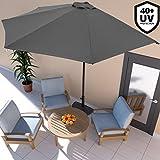 Deuba Semi-Round Garden Sun Parasol Patio Wall Umbrella Shade 3m UV Protection 40 Half Parasol with Crank Handle – Colour Choice Cream Anthracite Red