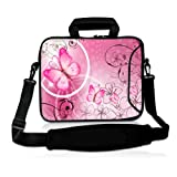 ToLuLuPink & Butterfly 9.7' 10' 10.2' inch Laptop Netbook Tablet Shoulder Case Carrying Sleeve bag For Apple iPad/Asus EeePC/Acer Aspire one/Dell inspiron mini/Samsung N145/Lenovo S205 S10/HP Touchpad Mini 210