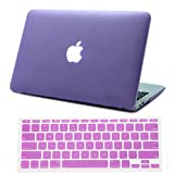 HDE Frosted Rubberized Hard Shell Plastic Case + Matching Keyboard Skin for Macbook Air 11.6' A1370 and A1465 models (Lavender)