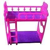 Glareshop Cartoon Plastic Bunk Bed Furniture Kids Toy Accessories for Barbie Dolls House