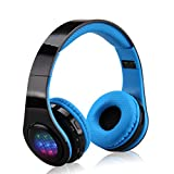 Excelvan Wireless Headphones Bluetooth for Kids Men Women, Noise Isolating Foldable Lightweight Headphone On Ear with TF Card Port, Mic and Volume Control for iphone Samsung (Blue)