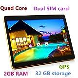 10 Inch 3G Phablet Quad Core 32GB ROM 2GB RAM Call Phone Android 6.0 Lollipop Tablet PC, Unlocked Dual Sim Card Slots, Bluetooth, GPS, WIFI, Resolution 1280X800 display IPS Screen TYD-107 -Black