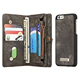Fone-Stuff Apple iPhone 6S Plus, 6 Plus Wallet Case, CaseMe - Genuine Luxury Leather, 10 Card Holders and Note Pocket in Black (Includes Screen Protector)