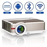 5000 Lumens High Definition Bluetooth Wifi Projector Home Cinema Outdoor Theater HD Android Wireless Proyector Movie Game Wedding Birthday Party Multimedia Video Projector with HDMI USB VGA AV Audio