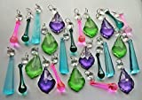 25 Summer Colour Chandelier Drops Pink Green Purple Teal Blue Peacock Transparent Chandelier Drops Parts Cut Glass Crystals Droplets Beads Christmas Tree Ornaments Vintage Chic Wedding Wishing Charm Table Decorations Prisms Antique Quality Art Deco Retro Beads Assorted Bundle Mixed Set by Seear Lights