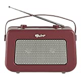 Vintage Style Quality DAB/FM Digital Radio Clock Radio Alarm Clock (Burgundy)