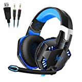 YKS Gaming Headset Over Ear Headband Headphones with Noise Cancelling Mircophone Stereo LED Headset with Volume Controlfor PC Computer Game