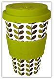 LEAVES by Happy Earth (Reusable Eco-Friendly Coffee Cup 450ml, Made with Organic Natural Bamboo Fibre, can be used as a travel mug or home coffee mug)