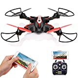 DoDoeleph Foldable Drone with HD Camera FPV Syma X56W Control UAV RTF RC Quadcopter With Altitude Hold Headless Mode Functions 3D Flips Remote Control Helicopter Black