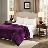 URBAN HABITAT New Range of Light But Warm Soft Fluffy Micro Velour Throw Blankets For Sofa and Bed, Wrinkle Resistant, Anti-fade (150*200cm, Purple