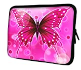 Luxburg New Design Neoprene Sleeve Soft Case Bag for 10 inch Notebook/Laptop/Tablet - Big Pink Butterfly