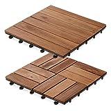 casa pura Interlocking Acacia Wooden, Garden & Patio Decking Tiles - 11 Tiles, 30x30cm (1m²) | Multiple Tile Sets Available, Ranger