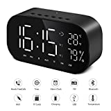 Digital Alarm Clock Bluetooth Dual Speaker FM Radio with Premium HD Sound Stereo & Large LED Display for Time/Date/Temperature, 3.5mm Aux/Micro SD/TF/USB Input
