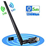 1200Mbps wireless USB wifi adapter,11ac Dual-band 2.4G 300Mbps 5G 867Mbps USB3.0 wifi dongle with 5DBI antenna for laptop desktop pc mac,wireless usb adapter supports AP mode for your phone tablet and more(1200M WIFI 5DBI)