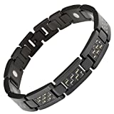 Mens Carbon Fibre Titanium Magnetic Bracelet Size Adjusting Tool and Gift Box Included By Willis Judd