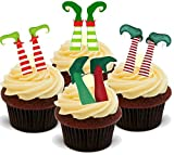 Christmas Xmas Elf Elves Feet Mix - Fun Novelty PREMIUM STAND UP Edible Wafer Paper Cake Toppers Decoration