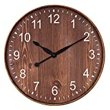 """Ukey 12"""" Wooden Look Wall Clock Silent Non-Ticking Vintage Decorative Arabic Numerals Round Clock for Living Room, Bedroom and Office Battery Not Included - Dark Brown"""