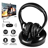 TV Headphones Wireless RF TV Headset Over-ear UHF Hifi Transmitter Stereo Sound with 100m Transmission Distance with Charging Dock for TV Computer MP3 iPods (Headphone and transmitter)-Fathers' Day's Gift