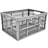 CrazyGadget 32L Plastic Folding Storage Container Basket Crate Box Stack Foldable Portable - Set of 10 (Made In U.K.) (Silver)