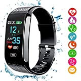 Fitness Tracker HR, Smart Bracelet 2018 Upgrade Activity Tracker with Pedometer Color Display Blood Pressure Heart Rate Monitor Sleep Monitor GPS Route Tracking IP67 Waterproof for Android IOS Smartphones Adults Kids (Black)