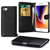 iPhone 7 Case, iPhone 8 Case DN-TECHNOLOGY Apple iPhone 7/8 Phone Cover, High Quality [Flip Case] [Book Wallet Case] [Card Holder Case] [Shockproof Case][Leather Wallet Case] With ID Holder Feature (Compatible With iPhone 7/8 Screen Protector) (Black)