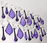 24 Deep Victorian Purple Chandelier Drops Transparent Chandelier Drops Parts Cut Glass Crystals Droplets Beads Christmas Tree Ornaments Vintage Chic Wedding Wishing Charm Decorations Garlands Prisms Antique Quality Art Deco Beads Assorted Bundle Mixed Set by Seear Lights