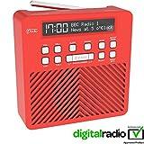 AZATOM Sonance T1 DAB Digital FM Radio Alarm Clock - Speaker System - Dual Alarm - Clock Radio - Rechargable Battery - USB Charging (Red)