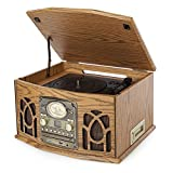 Itek I60011 Antique Record, CD, Cassette and Radio Player, 4-in-1