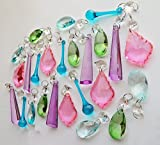 25 Pastel Colour Chandelier Drops Pink Green Lilac Teal Blue Transparent Chandelier Drops Parts Cut Glass Crystals Droplets Beads Christmas Tree Ornaments Vintage Chic Wedding Wishing Charm Table Decorations Prisms Antique Quality Art Deco Retro Beads Assorted Bundle Mixed Set by Seear Lights