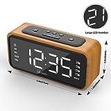 Alarm Clock, Digital Alarm Clock Radio, Lorretta Alarm Clocks, Clock Radio Alarm Bedside with 4 Alarms, Snooze, Sleep Timer, Dimmer, 12/24 Hour, USB Powered - Wood Color