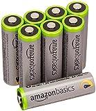 AmazonBasics High Capacity AA Pre-Charged Rechargeable Batteries 2500 mAh/minimum: 2400 mAh [Pack of 8] - Outer Jacket May Vary