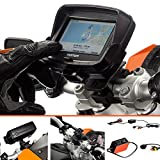 Ultimateaddons Motorcycle Pro 19-35mm Bike Handlebar Mount with Dedicated Holder for TomTom Rider v5 4.3' with 2 Amp Hardwire Battery Charger Cable