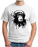 OM3 DJ-APE - T-Shirt DeeJay Turntables Monkey Headphone Music Master MC Cool Reggae Geek, XL, White