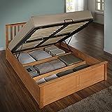 Happy Beds Phoenix Ottoman Bed Oak Finish Modern Frame Bedroom Comfort 4'6'' Double 135 x 190 cm