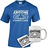 StarliteFunnyShirts Mens Funny Amusing Printed Awesome Dad T Shirt, Mug, Coaster Gift Set