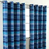 Homescapes Blue Eyelet Curtain Pair 137cm (54') Wide x 137cm (54') Drop Morocco Stripe Design Ready Made Ring Top Curtain Pair