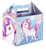 PARTY LUNCH BOXES Coloured Themed Kids Birthday Gift Loot Bags Favors Bags Loot by Lizzy (Pack of 12, Unicorn)