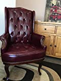 ANGEL HOME & LEISURE New Queen Anne Fireside High Back wing back leather chair Chesterfield type armchair (Black) (ox blood)