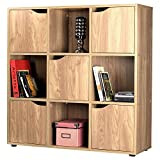 Oak Finish 9 Cube 5 Door Shelf Books CDs & DVDs Wooden Storage Display Unit Bookcase