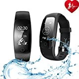 ANCHEER Fitness Tracker,Activity Tracker Heart Rate Monitor Step/Sleep/Calorie Counter Call/SMS Reminder Bracelet Band Waterproof Wireless Bluetooth Wristband Pedometer Smart Watch (Type1)