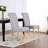 Set of 6 Premium Linen Fabric Dining Chairs Scroll High Back Light Grey