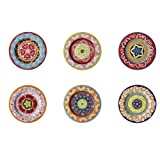 Nador Sagaform Set of 6 Salad/Serving Plates Mixed Patterns 20.5cm Stoneware