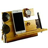 Lemo hand -Wooden Phone Docking Station with Key Holder, Pen Holder, Wallet and Watch Organizer Men's Gift YYHD12 (Dark pine)