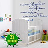 It's Double The Giggles - Children's Wall Decal baby nursey twins (Medium)