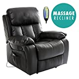 More4Homes (tm) CHESTER HEATED LEATHER MASSAGE RECLINER CHAIR SOFA LOUNGE GAMING HOME ARMCHAIR (Black)