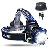 KINGTOP Zoomable LED Headlamp Waterproof USB Rechargeable Head Light Torch Lamp with Built-in Lithium Battery for Camping Hiking Running Cycling Fishing Hunting Climbing Caving Walking & More