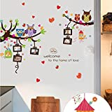 Owls Photo Frames Trees Wall Sticker Decal DIY Art Mural for Kids Baby Boy Girl Children Room Bedroom Nursery Decoration