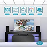 Modern Life 160cm Wide TV Unit TV Cabinet Stand with Free LED Lights and Remote Control, Shelves Sliding Doors (High Gloss Black)